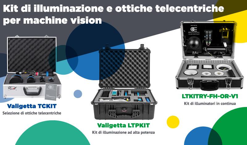 Kit di illuminazione e ottiche telecentriche per machine vision